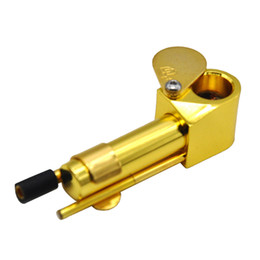Wholesale Tobacco Oils - Brass Proto Pipe Metal Smoking Pipe 3.9 Inch Portable Pipes with Golden Cleaning Tool Tobacco Pipe Oil Herb Bubbler Glass Water Pipes