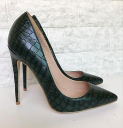 Chaussures vert foncé talons en Ligne-Talons hauts vert foncé femme 2018 nouvelle amende avec motif en pierre pointu rencontre talons hauts chaussures sauvages célibataires