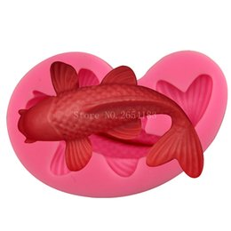 silicone animal cake mould Promo Codes - Animal Goldfish Fish shape Silicone Fondant Soap 3D Cake Mold Cupcake Jelly Candy Chocolate Decoration Baking Tool Moulds FQ3202