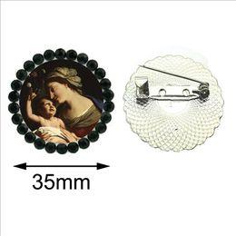 Broche de porcelana on-line-Nova Abençoada Virgem Maria Broches Pin De Vidro Mãe de Bebê Peito Rodada Broche de Cristal Cristão Religioso