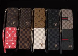 Wholesale iphone case lanyard wallet - Luxury Grid Leather Wallet Case for iPhone X 6 6s 7 8 8plus Flip Cover for Galaxy S9 S9plus S8 S7 S6 edge Note5 8 Fashion Lanyard Case