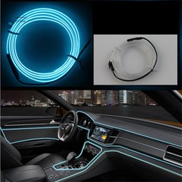 Wholesale Rope Light Yellow - DIY Decoration 12V Auto Car Interior LED Neon Light EL Wire Rope Tube Line Party Weeding Decal 10 Colors 3 meter