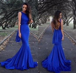 Wholesale Tank Prom Dresses - 2018 Charming Robe de soiree Simple Cheap Royal Blue Mermaid Evening Dresses Low Back Satin Tank Formal Party Prom Gowns Cheap
