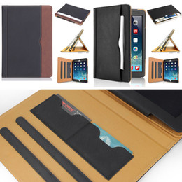 Wholesale ipad new leather case - Luxury Tan Soft Leather Wallet Stand Flip Case Smart Cover With Card Slot for New iPad 9.7 2017 2018 Air 2 3 4 5 6 7 Air2 Pro 10.5 Mini