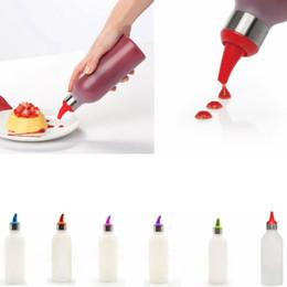 Bouteilles de sauce en plastique en Ligne-Bouteille en plastique Condiment Squeeze Sauce avec couvercles Astuce Cap pour Ketchup Moutarde BBQ Vinaigre Pot Cuisine Accessoires de cuisine GGA616 50 pcs
