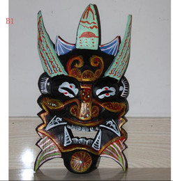 Wholesale tibet wood carvings - A Rare Tibet Old Wood Painted Carving anger Shaman Mahakala Buddha Vizard Masks
