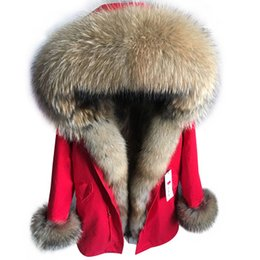 Wholesale Womens Fur Collar Coat - Monsieur & Madame Womens Long furs Coats Down Parkas hooded collar and the front Placket cuff with Real raccoon fur collar