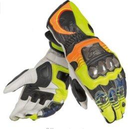 Wholesale original gloves - 2018 New Orange 100% Genuine Leather Rossi VR46 REPLICA D1 Motorcycle Gloves Driving Bicycle Original VR46 Motorbike Long Gloves