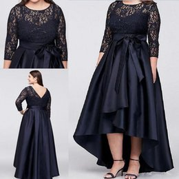 Wholesale Bride Low Mother - Navy Blue Plus Size High Low Mother Of The Bride Dresses With Half Sleeves Sheer Lace Evening Gowns A-Line Cheap Mother Dress