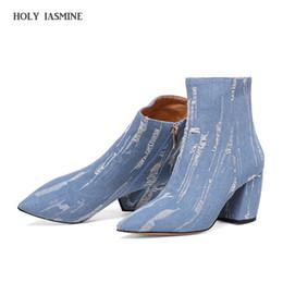 Canada 2018 New Hot Pointed Toe bottes en denim femmes super haute talons minces trou cassé zipper filles bottes bleu rugueux lisière chaussures femmes cheap thin pointed shoes Offre