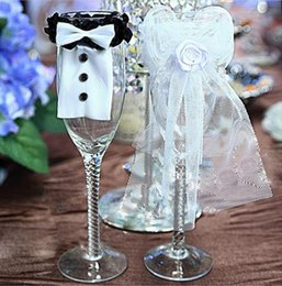 Wholesale Bride Glasses - Bride Groom Wedding Party Wine Glass Flute Covers Costume Glass Decoration for Wedding Party Cup Accessories OOA4115