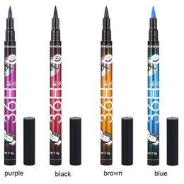 Eye-liner professionnel en Ligne-NOUVEAUTÉ! YANQINA 36H Eyeliner Imperméable Maquillage Yanqina Crayon Noir Marron Bleu Violet 4 Couleurs Maquillage des Yeux Professionnel
