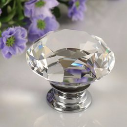 Wholesale Glass Cabinet Light - 1pcs 30mm Diamond Crystal Glass Alloy Door Drawer Manual Handle Bar Cabinet Wardrobe Pull Handle Knobs Light weight