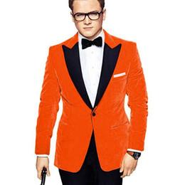 Ternos laranja homens on-line-Ternos de veludo laranja homens para festa de formatura pico lapela duas peças do noivo do casamento smoking evening party suit jacket black pants