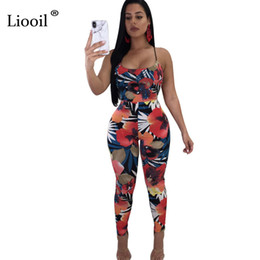 Wholesale Lace Outfits For Women - Liooil Backless Print Floral Rompers Womens Jumpsuit Sexy Club Outfits For Woman Lace Up Casual Summer Women Jumpsuit Long Pants