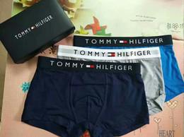 Wholesale Boxers For Men - New Tommy Men's Underwear Boxers Letter Pattern Design Breathable Soft Cotton Underpants Tight Underwears For Men 5Color 4Size best