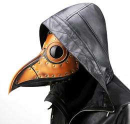 Maschere viso punk online-Steam Punk Maschera di Halloween Plague Doctor Bird Steampunk Black Death Holloween Maschera PU in metallo Costume di Halloween