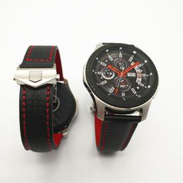 Engranaje s3 online-Más reciente banda de correa de reloj de cuero genuino de fibra de carbono para Samsung Galaxy Watch 46mm 42mm Gear S3 Classic Frontier Huawei 2