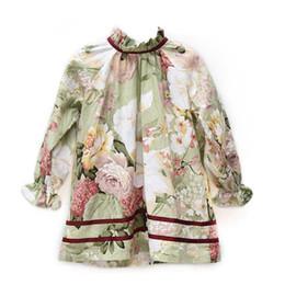 Robe de designer pour enfants en Ligne-Automne Bébés Filles Floral Dress enfants vêtements de créateurs Fleur Imprimé Arc Enfants Robes De Rayure Automne Mode Filles Vêtements C4017