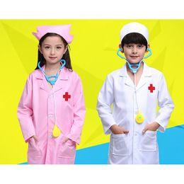 Uniforme de enfermeras de halloween online-Niños Doctor Disfraces Cosplay Niñas Uniformes de Enfermera Juego de rol Fiesta de Halloween Desgaste Fancy 5PCs Niñas Cosplay Doctor Jacket
