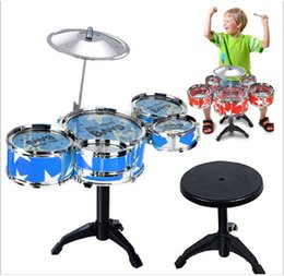 Wholesale Musical Instruments For Children - New Hot Simulation Drum for children suit percussion instruments Large Jazz Drums musical instruments drums equipped with stool