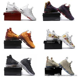 Wholesale 12 Boxes - (With box) High Quality Newest Ashes Ghost Lebrons 15 Basketball Shoes Lebron shoes Arrival Sneakers 15s Mens Casual Shoes James 15 7-12