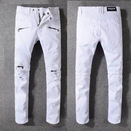 Jeans para hombre de rock revival online-Pantalones vaqueros para hombre Pantalones vaqueros de diseño para hombre Motociclistas desgastados Motocicleta tamaños 29-42 Rock revival Pantalón vaquero pitillo Slim para hombre