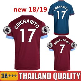 Wholesale west home - 2018 West Ham United Soccer Jersey CHICHARITO ARNAUTOVIC Home Red Football Shirts 17 18 Thailand CARROLL LANZINI Short Jerseys Mens Uniforms