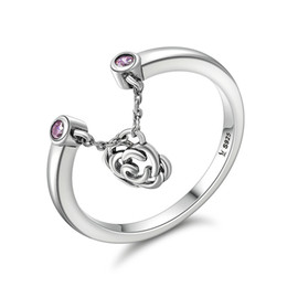 Wholesale Flowers Stories - New Design Authentic 925 Sterling Silver Flower Rose Story Rose Dangle Ring Women Sterling Silver Jewelry Gift SCR148