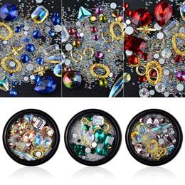 Fée diamant cristal en Ligne-Nail art forage bouteille cristal diamant tranparent AB strass perles perles cadre en métal bricolage 3D nail art bijoux décoration MZ004