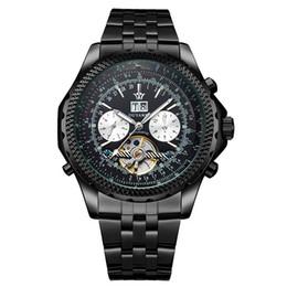 Ouyawei relógios automático de aço inoxidável on-line-OUYAWEI Luminosa Luxo Esqueleto Mecânico Automático Dial Aço Inoxidável Banda Relógio De Pulso Dos Homens de Negócios relógios de Pulso OYW04