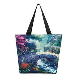 Wholesale Nice Tote Bags - Nice Shoulder Bags 2017 landscape painting print women handbags beautiful scenery female big totes polyester bags birthday gifts