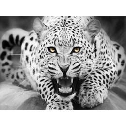 pittura a muro di leopardo Sconti 0329ZC132 Home wall Deco foto numero di DIY pittura a olio per bambini Graffiti bianco Calmly leopardo animale pittura con i numeri