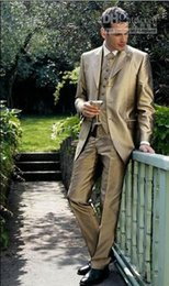 Pantaloni in raso d'oro online-Custom Made Slim Gold Satin Smoking dello sposo Groomsman Blazer Suit abiti da uomo nuziali (Jacket + Pants + Vest + Tie) 2018 a buon mercato