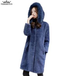 Wholesale Fox Mink Coats - tnlnzhyn 2017 New Winter Women Mink Cashmere Fur Coat Fashion Fox Fur Collar Hooded Jacket Medium long Outerwear Y882