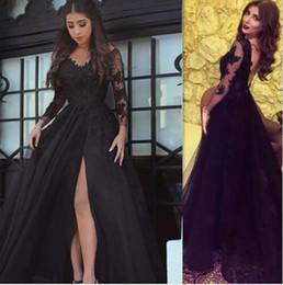 Wholesale illusion dinner dresses - Split Evening Dresses Black Long Sleeve Illusion Backless Appliques Dinner Party Dress Arabic Style V-Neck High Slit Formal Dress Prom Gowns