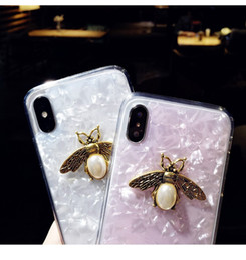 Cajas del teléfono celular de la perla online-Para Iphone X Phone Cases Cameo Shell Veins Bee Pearl acrílico TPU borde suave caja del teléfono celular para Iphone 6 7 8 Plus