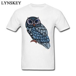 búho camiseta hombres Rebajas Brand New Animal Owl Blue Tops impresos Camisetas para hombres Retro Art Design Male T-shirts Cotton Clothing Crewneck