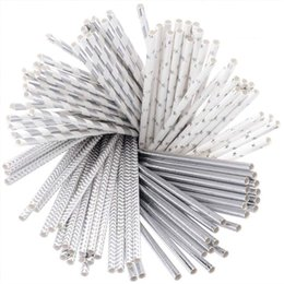 Объем бумаги онлайн-Solid Paper Straw Bulk Disposable Silver Paper straw Striped Decrotive Color Drinking Straws Biodegradable Party Wedding Christmas Supplies