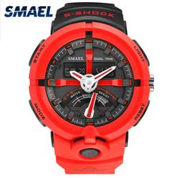 Wholesale Cool Shocks - Cool LED Watch Men Analog Alarm S Shock led Digital Wrist Watch Mens SMAEL Men 1637 relogio masculino Sport Running