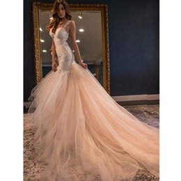 Wholesale T Back Chiffon Bridal Dress - Blush Pink Party Dress Prom Gowns Mermaid Backless Bridal Gowns Custom Made Women Gowns Red Carpet Formal Prom Celebrity Dresses