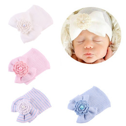 f4ba69ff0f47a Crochet Cute Newborn Cap Baby Girls Boys Infant Girl Toddler Comfy Bowknot  Hospital Cap Striped Beanie Hat 0-3M