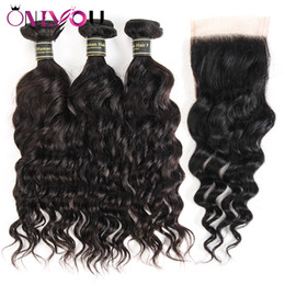 Wholesale Brazilian Hair Weaves Sale - Brazilian Water Weave Natural Wave Virgin Human Hair Weave Bundles and Closure Remy Human Hair Bundles Wholesale Hot Sale Items Wholesale