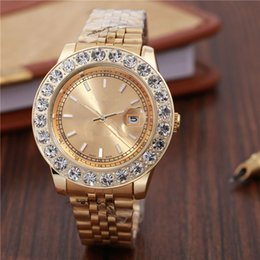 Wholesale Gold Chain Watches - AAA 44MM Big diamond New Fashion Style man Watch silver Diamond wristwatch Steel Bracelet Chain Luxury lover Watch High Quality folding lock