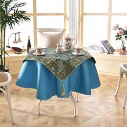 Häkeltische online-Neues Design 2 Teile / satz Runde 140 cm Luxus Pailletten Outdoor Tischwäsche Mode Häkeln Jacquard Rotwein Garten Tischdecke Dekoration