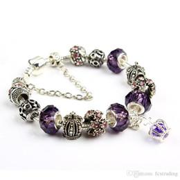 Custom bracelet online-Pulsera de 19 CM Charm Pulseras de Pandora de plata para mujer Pulsera de corona real Cuentas de cristal púrpura Diy Jewelry con logotipo personalizado
