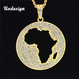 2019 africa mappa pendente d'oro collana uomo Mappa dei gioielli hip hop Africa Scultura con catene ghiacciate gioielli in acciaio inossidabile con pendente in argento placcato oro africa mappa pendente d'oro economici
