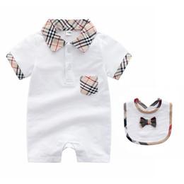 Tuta generale dei ragazzi online-2018 vendita calda di estate indumento del bambino manica corta cotone puro strisciante vestiti plaid bavero tute tute bambini