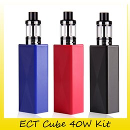 Wholesale Cube Buildings - 100% Original ECT Cube 40W Starter Kit With Built-in 2200mah Battery 40W Box Mod For Authentic Kenjoy Elfin Atomizers Tank 2237008