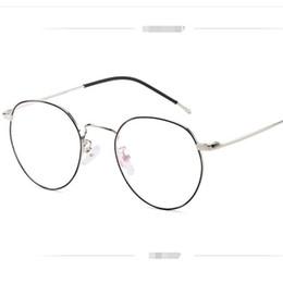 marcos de gafas unisex de metal redondo Rebajas Elegantes gafas retro para mujer Nuevo marco de gafas de metal montura de gafas unisex moda hipster marco redondo lente plana